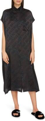 Balenciaga Tonal Logo Jacquard Silk Midi Shirtdress