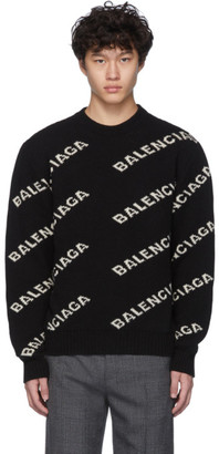 Balenciaga Black and White All Over Logo Sweater