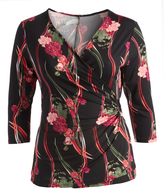 Glam Black & Pink Floral Gathered Surplice Top - Plus