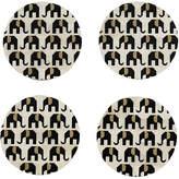 One Kings Lane Set of 4 Elephant Coasters - Black/White