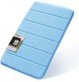 Docbear 17x24-Inch Coral Velvet Non Slip Memory Foam Bath Mat, Blue