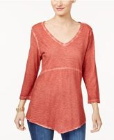 Style&Co. Style & Co Cotton Scarf-Hem T-Shirt, Only at Macy's