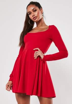Missguided Petite Red Long Sleeve Skater Dress
