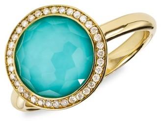 Ippolita Lollipop Mini 18K Yellow Gold, Turquoise Doublet & Diamond Ring