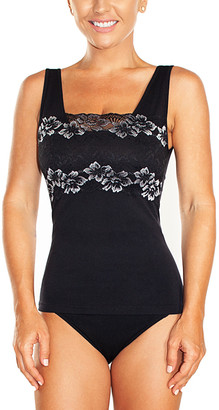 Ahh By Rhonda Shear Women's Camisoles Black/White - Black Floral Lace-Overlay Shelf Tank - Women & Plus