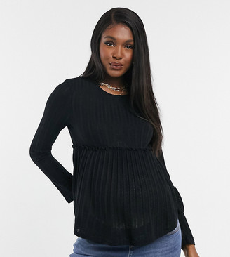 New Look Maternity knitted peplum top in black