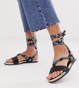 Miss Selfridge flat sandals with snake ankle ties in black