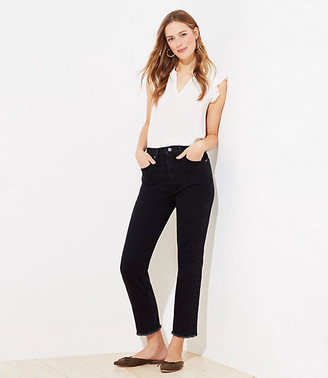 LOFT Frayed High Waist Straight Crop Jeans in Washed Black
