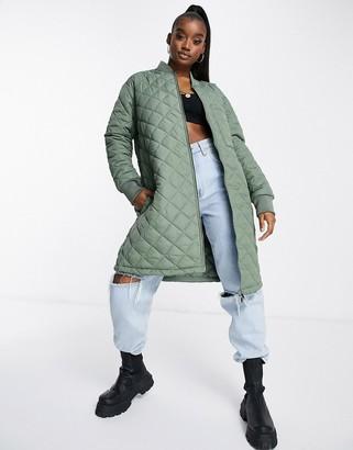 Brave Soul orlando diamond quilted longline jacket in khaki