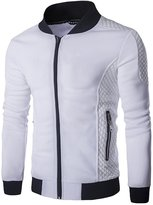 Whatlees What Less Mens Fashion Contrast Zip Up Leather Jacket With Pockets -L