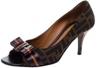Fendi Tobacco Zucca Canvas and Leather Bow Peep Toe Pumps Size 38