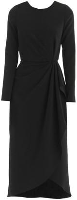 Carolina Herrera Long-Sleeve Faux Wrap Sheath Dress