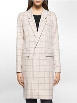 Calvin Klein Womens Windowpane Car Coat Jacket