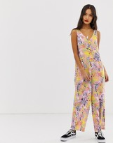 Noisy May abstract print wide leg jumpsuit