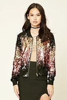 Forever 21 FOREVER 21+ Two-Tone Sequin Bomber Jacket