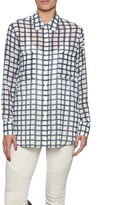 BB Dakota Sheer Plaid Button Down