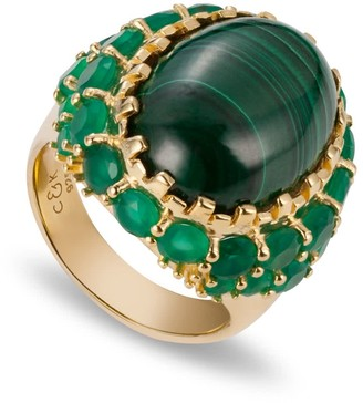 Mae Coco & Kinney Martha Malachite Ring In Gold