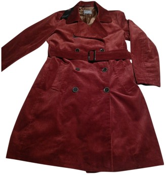 Gloverall Burgundy Velvet Coat for Women