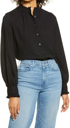 Halogen Ruffle Button Front Blouse