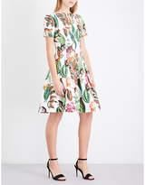 Oscar de la Renta Printed stretch-cotton mini dress