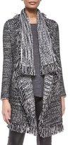 Vince Frayed-Edge Textured Cardigan, Black/White