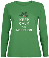 Old Glory Christmas Keep Calm & Merry On Womens Long Sleeve T-Shirt