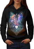 Hipster Wolf Head Tribal Animal Women NEW XXL Hoodie | Wellcoda