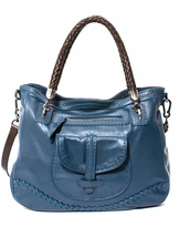 Carla Mancini Cobalt Braided Strap Leather Shoulder Bag