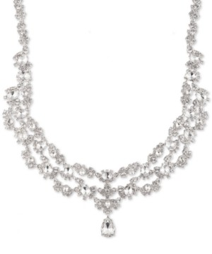 """Givenchy Silver-Tone Crystal Two-Row Collar Necklace, 16"""" + 3"""" extender"""