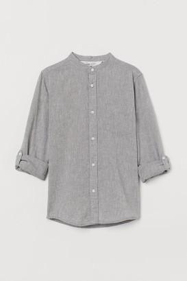 H&M Band-collar Shirt - Gray