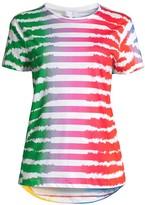Escada Sport Rainbow Striped Zebra-Print T-Shirt