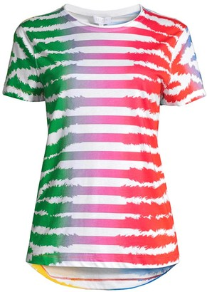 Escada Sport Rainbow Striped Zebra-Print T-Shirt
