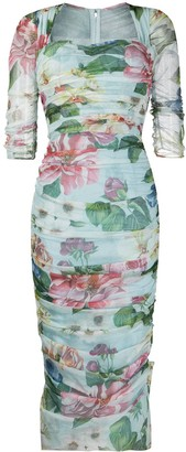 Dolce & Gabbana Draped Floral Print Dress