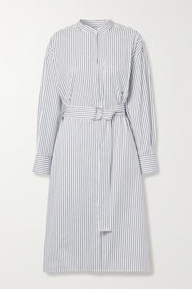 Jason Wu Belted Striped Cotton-poplin Shirt Dress - Light blue