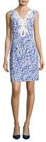 Eliza J Crochet-Trimmed Paisley Sheath Dress