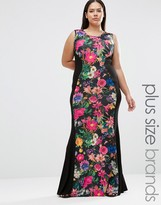 Club L Plus Illusion Maxi Dress In Tropical Print