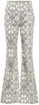 Les Rêveries Snakeskin-printed flared pants