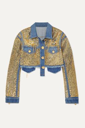 Balmain Cropped Embellished Distressed Denim Jacket - Blue
