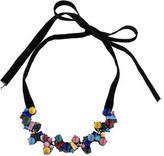 Erickson Beamon Crystal & Resin Cluster Velvet Choker Necklace