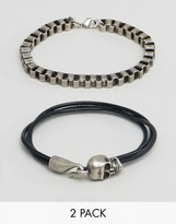 Asos Bracelet Set With Chain And Skull In Burnished Finish