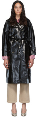Nanushka Black Vinyl Ambar Trench Coat
