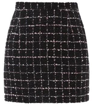 Alessandra Rich Checked Cotton-blend Boucle Mini Skirt - Black Blue