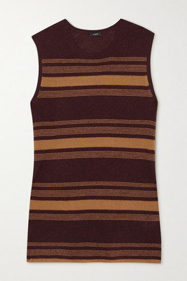 Joseph Striped Ribbed Cashmere Tank - Brown