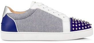 Christian Louboutin Seavaste Spikes Leather & Canvas Low-Top Sneakers