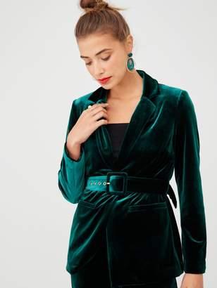 Very Belted Velvet Jacket - Forest Green