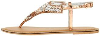 Accessorize Bethany Beaded Sandals - Rose Gold