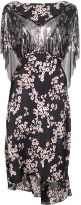 Paco Rabanne Sakura Print Sequin Cape Dress