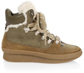 Isabel Marant Brendta Shearling-Lined Suede Hiking Boots