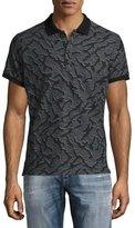 Diesel Tiger-Print Polo Shirt, Gray