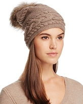 Inverni Braid Knit Beanie with Asiatic Raccoon Fur Pom-Pom